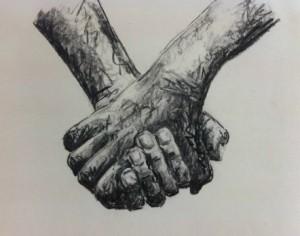 klein handen ineengeslagen
